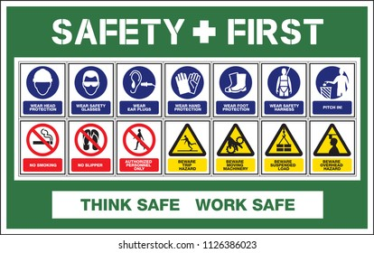 Safety First warning sign, WEAR head/foot/hand protection, safety glasses, ear plugs, harness, pitch in, BEWARE Trip/over head hazard, moving machinery, Suspended load, NO smoking/Slipper, DO NOT PASS