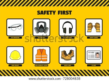 Safety First Work Concept Workers Company Stock Vector Royalty Free