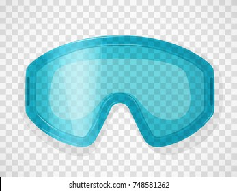Safety glasses on a transparent background. Realistic vector illustration.