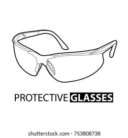 Safety glasses for repair work on a white background