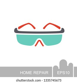 Safety goggles icon. Construction, repair and building vector design and illustration