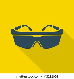 Safety goggles isolated on yellow background with a shadow underneath. Flat styled vector illustration.