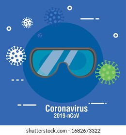safety goggles protection for covid 19 vector illustration design