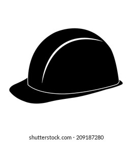 safety hard hat - black vector icon