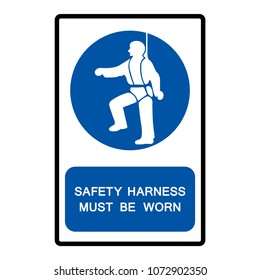 Safety Harness Must Be Worn Symbols, Vector Illustration, Isolate On White Background Icon. EPS10