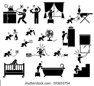 Safety hazard at home for children. Potential risks and dangerous hazard inside house that can cause serious accident, injury, and harm to baby and toddler. Illustration designed in stick figures.
