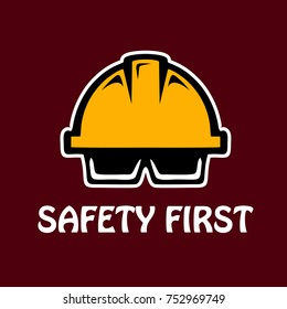 safety helmet and glasses for engineer, illustration icon logo vector