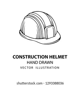Safety helmet. Safety helmet hand drawn vector illustration. Sketch drawing hard hat icon. Part of set.
