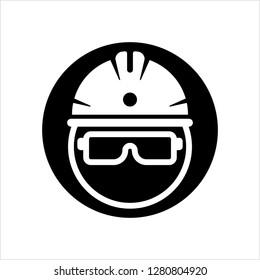 Safety Helmet Icon, Head Protection, Headgear Vector Art Illustration