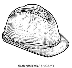 Safety helmet illustration, drawing, engraving, ink, line art, vector