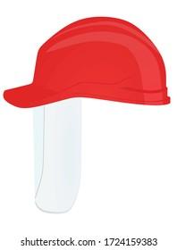 Safety helmet with visor. vector illustration