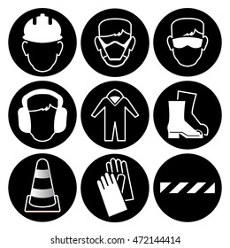 safety wear signs goggles harness helmet stock vector royalty free Wheelchair Conversion Kit safety icon collection