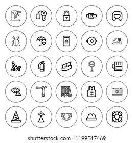 Safety icon set. collection of 25 outline safety icons with belt, bug, blinder, cargo, boxing helmet, cone, extinguisher, diaper, float, hat, gloves icons. editable icons.
