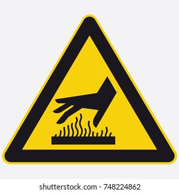 Safety icon triangle hot hand surface