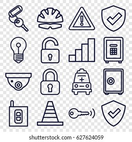Safety icons set. set of 16 safety outline icons such as opened lock, security camera, key, cone, warning, safe, ambulance, stair, intercom, helmet, shield, lock