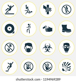 Safety icons set with explosive, electrocution hazard, stop and other ban elements. Isolated vector illustration safety icons.