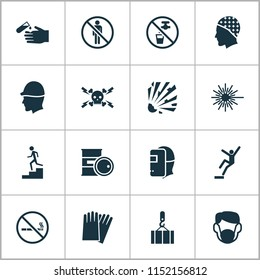 Safety icons set with light, high voltage, hand protection cigarette forbidden elements. Isolated vector illustration safety icons.