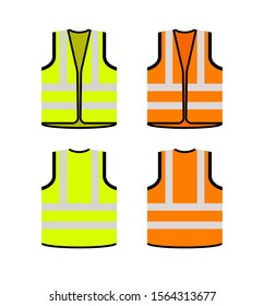 Safety jacket security icon. Vector life vest yellow visibility fluorescent work jacket.