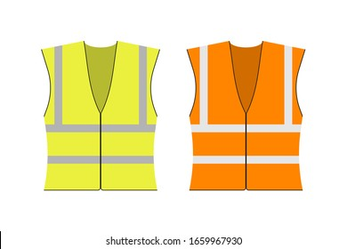Safety jacket security. Set of yellow and orange work uniform with reflective stripes. Vector stock illustration.