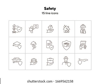 Safety line icon set. Protection, home, document. Insurance concept. Can be used for topics like accident, property, damage