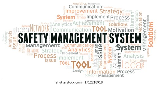 Safety Management System typography vector word cloud.