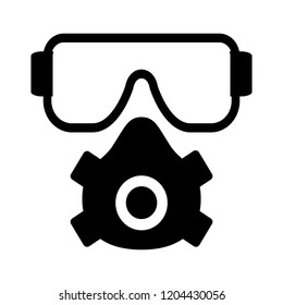 safety mask construction tools - vector safety dust mask sign symbol. engineer equipment illustration isolated, silhouette respirator equipment