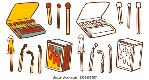 Safety match ignite burn icons set. Cartoon illustration of doodle Safety match vector icon for web isolated on white background