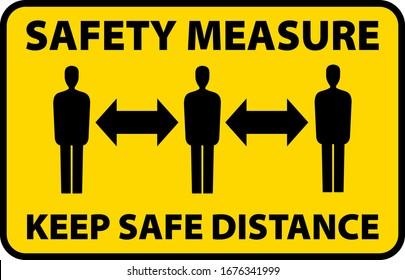 safety measure keep a safe distance sign, corona virus pandemic precaution vector illustration
