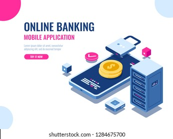 Safety of money on internet, protected transaction payment, mobile application online bank, blockchain technology, cryptocurrency, server room database, coin vector illustration