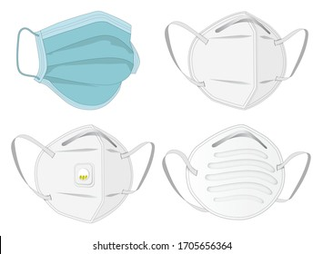 safety N95 mask, dust protection respirator and breathing medical respiratory mask. Hospital or pollution protect face masking. - vector