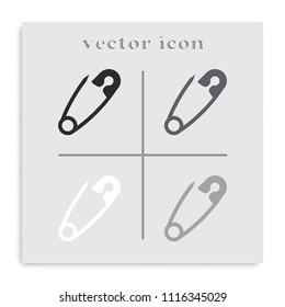 Safety pin flat black and white vector icon.