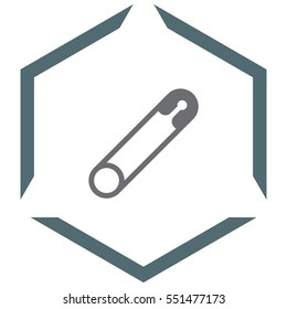 Safety pin vector icon. Metal needle sign. Sewing accessories symbol