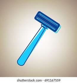 Safety razor sign. Vector. Sky blue icon with defected blue contour on beige background.