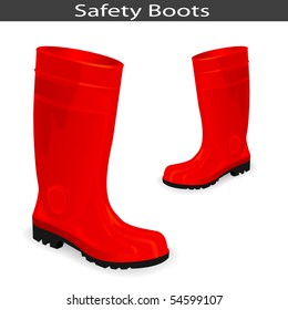 Safety Red Boots. Vector Illustration