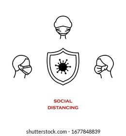 Сovid-19 safety and security symbol. Social Distance for prevention of spreading the infection. Vector illustration of people in facemasks