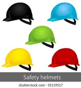 Safety set helmets. Vector illustration