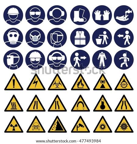 Safety Sign Mandatory Sign Safety Instruction Warning Stock Vector