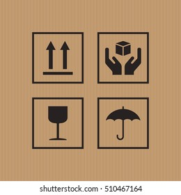 Safety sign on paper box background.