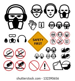 Safety signs for abrasive wheel on the angle grinder. bold line icons. Not allowed sign and safety first sign included