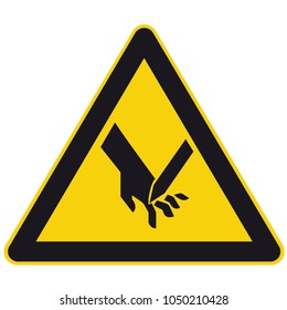 Safety signs warning triangle hand sign vector pictogram  Icon cut injuries