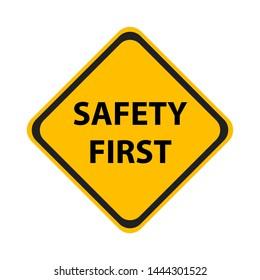 Safety symbols and first signs, work safety, caution work hazards, danger surveillance, zero accident, vector icon illustration