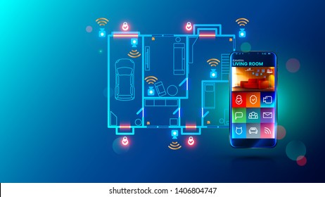 Safety system and video surveillance of smart home. cctv send video stream on smartphone via internet connection. Mobile device remotes security cameras and locks doors. Protection apartment concept.
