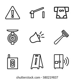 safety vector icons. Set of 9 safety outline icons such as razor, ATM money withdraw, wet floor, barrier, intercom, siren, spy camera