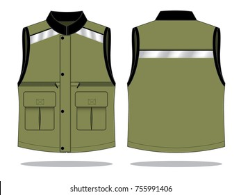 Safety Vest Design With Army-Black And Multiple Pockets, Gray Reflective Tape, Snaps Hidden Zip Vector.Front And Back View.