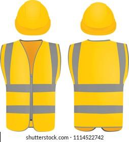 Safety vest and helmet. vector illustration