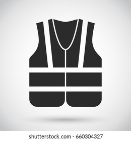 Safety vest,  industrial waistcoat with reflective strips, black icon vector illustration