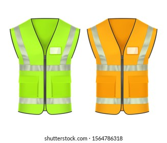 Safety vest with retroreflective strips, vector mockup templates. High-visibility clothing, reflective jacket or safety vest of green and blaze orange color, workers personal protective uniform