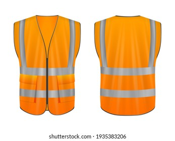 Safety vest set on a white background. Vector illustration.