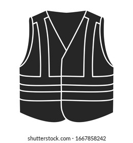 Safety vest vector icon.Black vector icon isolated on white background safety vest.