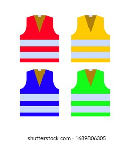 Safety vests set. Red, yellow, blue, green colors. Vector illustration. EPS 10